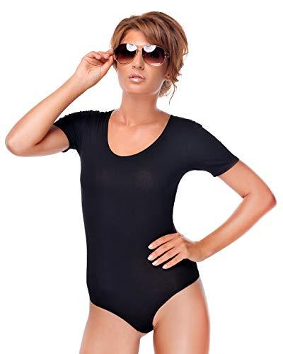 Krisli Body de manga corta para mujer de algodón con cierre de gancho. Negro L