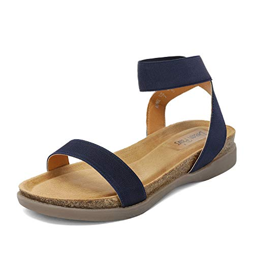 DREAM PAIRS Women's Navy Open Toe One Band Elastic Strap Flat Sandals Size 8 M US Kimmie
