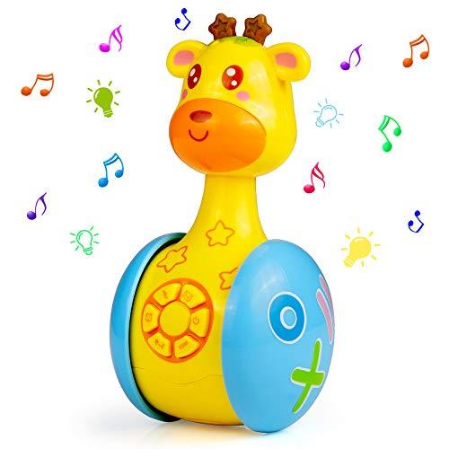 MOOKLIN ROAM Juguete de Sonajero Jirafa para Bebé 6-18 Meses - Juguetes Musicales Interactivo de Aprendizaje 5 en 1, Juguetes de Sonido Educativo Temprano con Música y Luz, Regalos para Niños Niñas