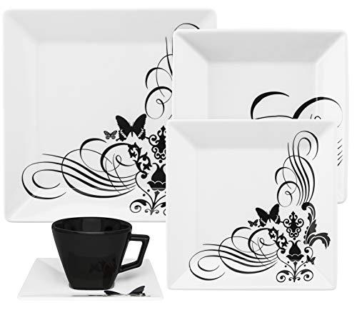 1 Aparelho De Jantar/chá 20 Peças Quartier Tattoo - Gm20-2414 Oxford Branco/preto
