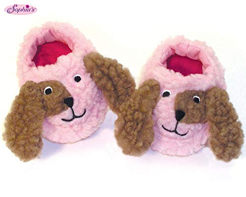 Cute Puppy Dog 18 Inch Doll Slippers Sized to Fit 18 Inch American Girl Doll Clothes & More! Doll Accessories of Pink/Brown Animal Slippers for Dolls