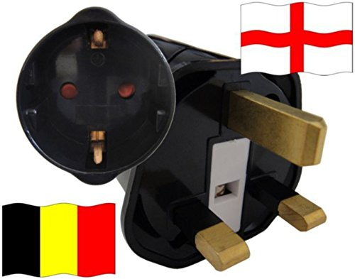 Urlaubs Reiseadapter England für Geräte aus Belgien Kindersicherung und Schutkontakt 250 Volt