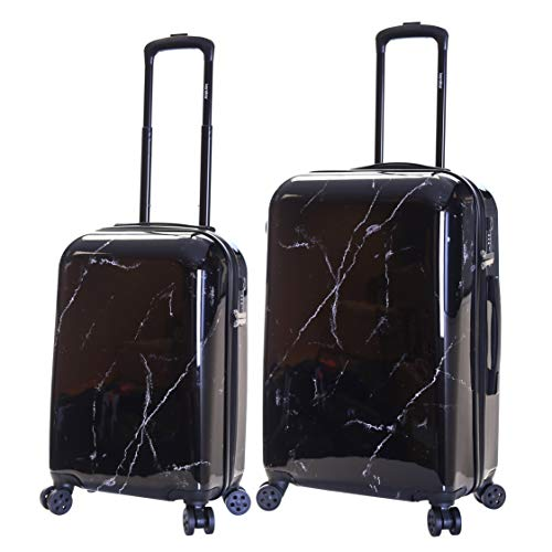 Karabar Set of 2 Hard Suitcases Luggage Bags Small Carry-on Cabin and Medium Large Polycarbonate PC Shell Sets with 4 Spinner Wheels and Integrated TSA Number Lock, Marble Black