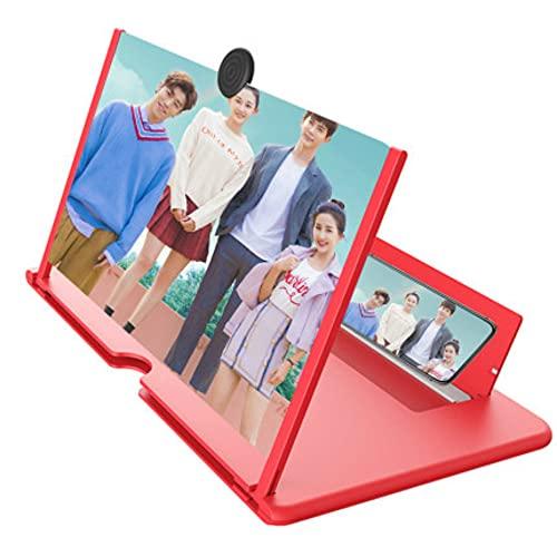 Mydio Lupa de pantalla de 12 pulgadas para teléfono móvil – Pantalla de proyector de lupa 3D para películas, vídeos y juegos, compatible con todos los teléfonos inteligentes (rojo) (rojo)