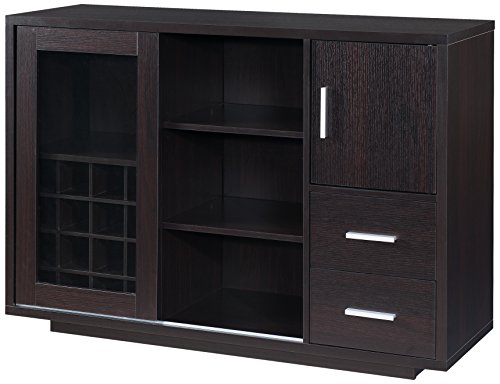 Furniture of America Thandie Dining Buffet and Wine Cabinet, Cappuccino
