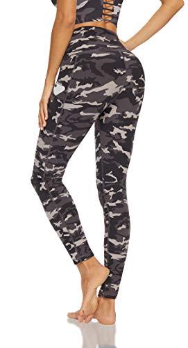 Lingswallow High Waist Yoga Pants - Capris Leggings with Pockets for Women Workout Sports Pattern Yoga Pants Grey Camo