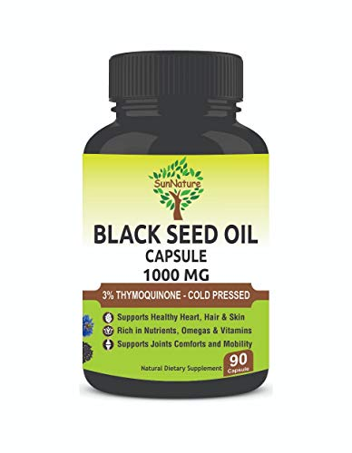 SunNature Black Seed Oil 1000 mg Softgel | 3% Thymoquinone, Vitamin E, Omega 3 6 9 | Supports Immune System, Joint & Skin Health | 90 Capsules for Men & Women