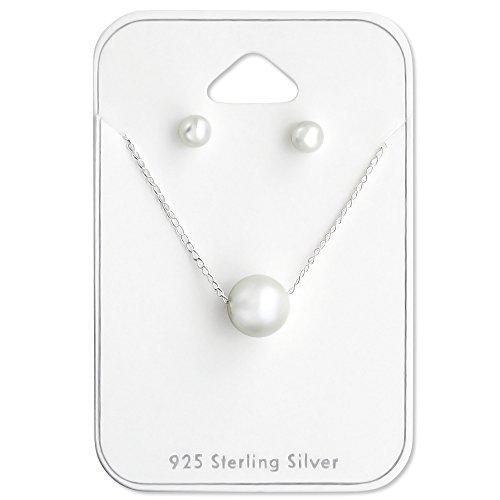 925plata esterlina conjunto de pendientes y collar de perlas de plástico 28956