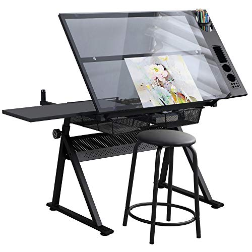 Waful Height Adjustable Drafting Draft Drawing Art Table Art Craft Artists Desk Tilting Glass Tabletop Paintings Work Station Artist Table -2 Storage Drawer for Reading, Writing Art Craft Work Station