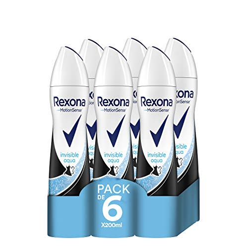 Rexona Invisible Aqua Antitranspirante Aerosol para Mujer Antimanchas, 0% Alcohol 200 ml - Pack de 6 x 200 ml, Total 1200 ml