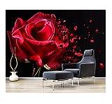Fototapete 3D Romantische Rote Rose Wohnzimmer Schlafzimmer Hintergrund Wanddekoration Fototapete 380X260Cm