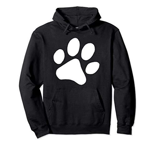 Dog Paw Print Dog Print Dog Themed Dog Owner Hoodie | Black Novelty Unisex Lightweight Pullover Hoodie