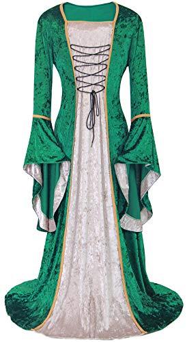 ALIZIWAY Womens Medieval Renaissance Dress Halloween Cosplay Costumes Irish Retro Gown Long Over Dresses Y086GRM Green