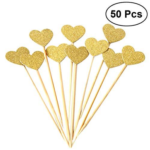 Bestomz 50 Stück Herz Cupcake Toppers Gold Glitzer Herz große Cupcake Toppers Goldene Hochzeit / Hochzeit / Babyparty