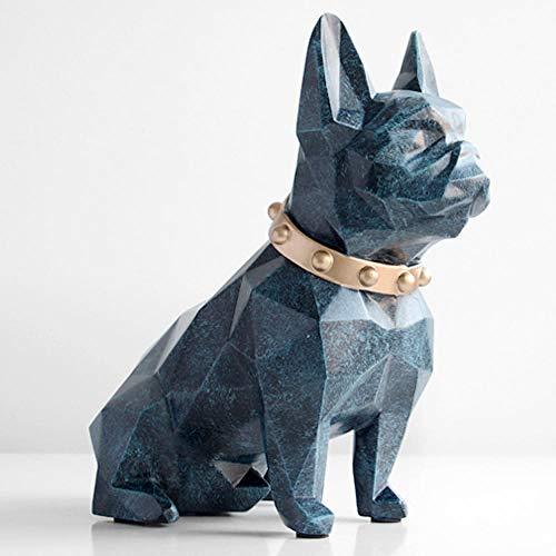 SKHF Escultura Estatua De Escultura Estatuilla De Perro De Resina Decoraciones para El Hogar-Azul
