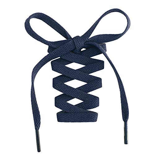 Handshop Flat Shoelaces 5/16' - Shoe Laces Replacements For Sneakers and Athletic Shoes Boots Navy Blue 114cm