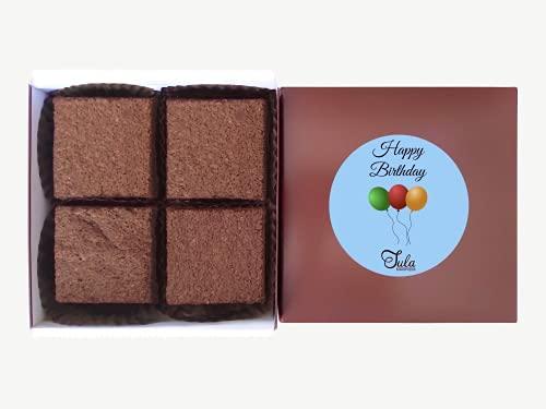 Tula Bakeshoppe Gluten Free Happy Birthday Surprise Fudge Brownie Gourmet Gift Basket for Men, Women, Godson, Goddaughter, Stepson, Stepdaughter (4 Bars & Card)