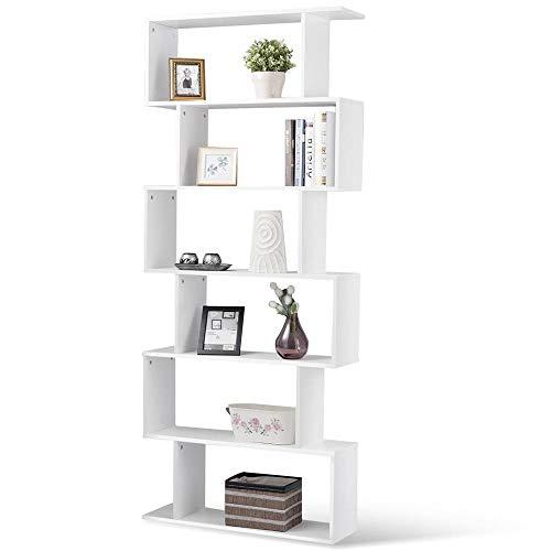 BAKAJI Libreria Scaffale 6 Ripiani in Legno Design Zig Zag Moderno per Soggiorno Salotto Casa o Ufficio Dimensione 80 x 24 x 190 cm (Bianco)