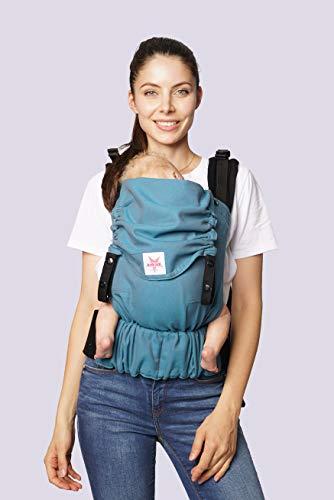 Babytrage KOKADI® Flip Just Lagoon (Babysize) – Babytrage ab Geburt ✓ Ergonomisch ✓ Mitwachsend ✓ Vorne & Hinten ✓ Sommer & Winter ✓ Zertifiziert ✓ Tragetuchstoff ✓ GRATIS Beutel