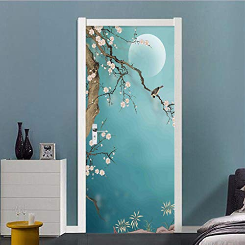 Art Wallpaper Poster Door Decals Flor de durazno Animal ave 37.40 X 84.64 inch (W X H) Peel and Stick Decor Stickers Art Canvas Wallpaper Removable