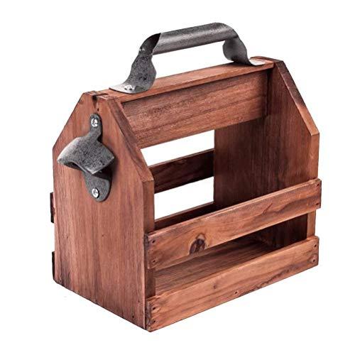 ZAIZAI Portabidones de madera natural portátil con sacacorchos de metal para barbacoas al aire libre, picnics fiestas