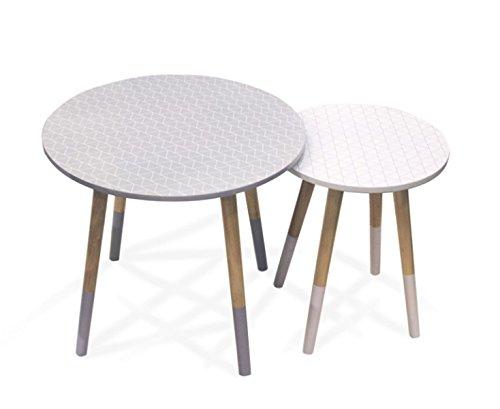 PEGANE Lot de 2 Tables gigognes en Bois moif Blanc, Gris - Dim : H 48 x L 48 x P 48 cm