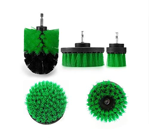 5 Pieces of Drill Brush Cleaning kit, Power Scrubber for Cleaning Bathroom, Floor, Pool Tiles, Bricks, Ceramics, Marble, Cement Grout, Cleaning Brush with Drill Pipe, Multi-Color car (Green)