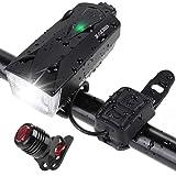 Zacro Luci per Bicicletta, Set LED Luci Bicicletta Ricaricabili USB con Clacson, 2600 Lume...