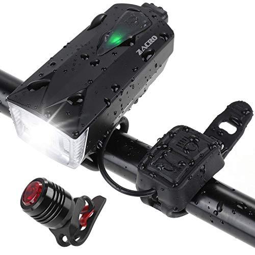 Zacro Luci per Bicicletta, Set LED Luci Bicicletta Ricaricabili USB con Clacson, 2600 Lumen Luce Bici Anteriore e Posteriore Super Luminoso Luce Bici per Autisti notturni Ciclismo e Campeggio