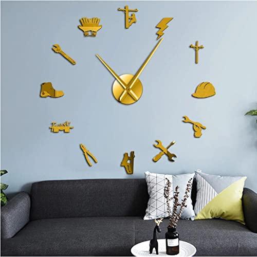 LTMJWTX Herramienta de Electricista Lineman Mute 3D DIY Reloj de Pared Reparación eléctrica Superficie de Espejo acrílico Decoración de Pared Reloj Reloj de Regalo para liniero-27INCH