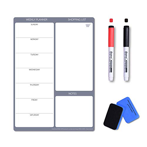 Magnetic Weekly Calendar Whiteboard- Weekly Planner Board for Fridge, Ideal for Family's Menu Plans,...