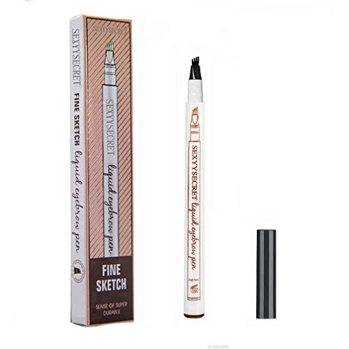 Tattoo Eyebrow Pen with Four Tips Waterproof Long-lasting Brow Gel Tint Dye Cream for Eyes Makeup (Dark Grey)