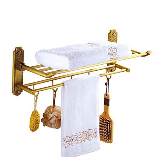 Glazen legplank, badkamer, plank, vintage koper, handdoekhouder, vouwbaar, met Europees badkamerrek met 5 haken, geperforeerde installatie, badkamermeubels
