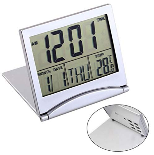 rrff Mini Klapp LCD Digital Wecker Schreibtisch Tisch Wetterstation Schreibtisch Temperatur Tragbarer Reisewecker 8,5X7,7X1,2 cm
