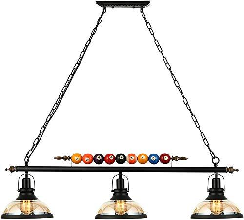 Living Equipment Lámpara de interior Lámpara de isla de 3 lámparas Lámpara de mesa de billar colgante Lámpara de araña con pantalla de cristal transparente Decoración de billar especial Lámpara de