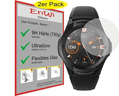 EnWi | 2X Panzer-Glas-Folie 9H Bildschirm-Schutz-Folie für Ticwatch S2