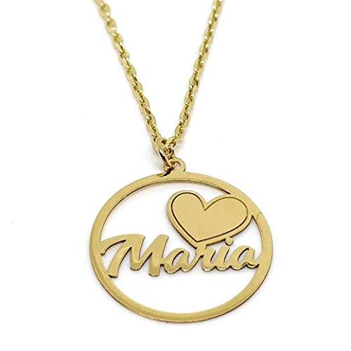 lucarelli Cadena + Colgante Circular en Oro de 18 KL. con corazón + Nombre.