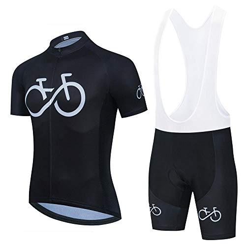 HXTSWGS Conjunto de Babero de Jersey de Ciclismo Ropa de Bicicleta Uniforme de MTB Ropa de Ciclismo de Secado rápido Ropa de Ciclismo Deportivo para Hombre-Negro 1_L