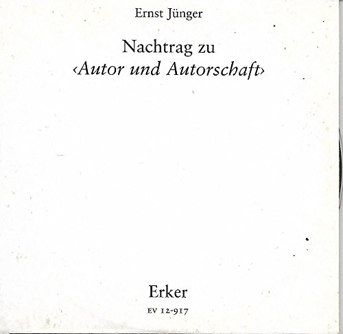 Nachtrag zu Autor und Autorschaft