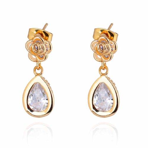 Yazilind elegante 14K Gold Filled Inlay Claro Teardrop Pendientes de gota de la flor de Rose cuelga el Circonita cúbico por Idea regalo de las mujeres