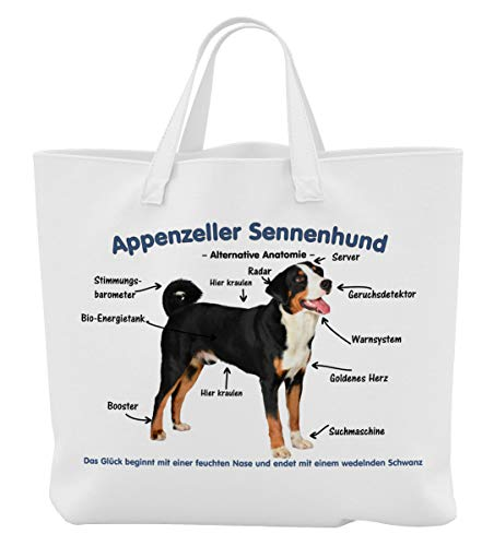 Merchandise for Fans Einkaufstasche - 45 x 42 cm x 9,5 cm, 18 Liter - Motiv: Appenzeller Sennenhund...