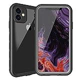 iphone 11防水ケース iphone 11カバー IP68規格 超強防水力 Qi充電対応 フェイスID 指紋認証対応 耐衝撃 防塵 防雪 衝撃吸収 操作便利 アイフォン 11 防水ケース(ブラック6.1インチ)