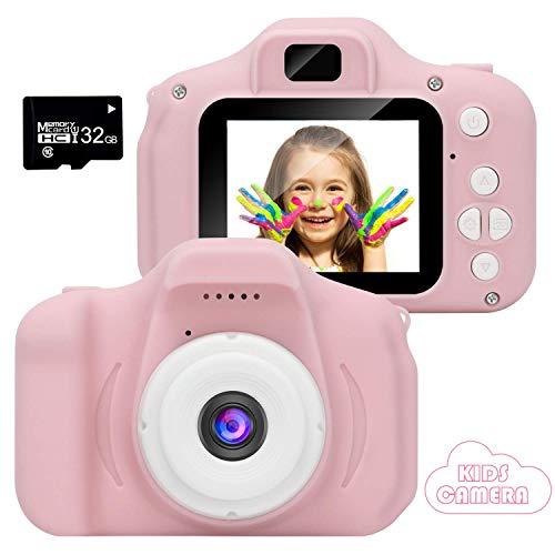 2020 Nueva Cámara para Niños, Cámara de Fotos/Video HD 1080p Cámara Digital para Piños, Pantalla LCD de 2 Pulgadas/Tarjeta 32G (Rose-3)