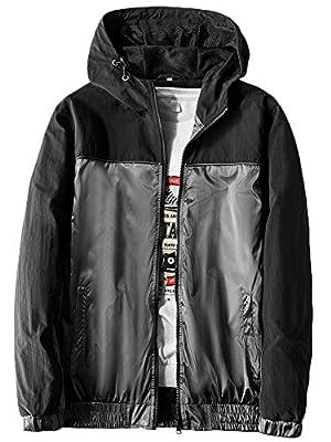 MADHERO Mens Windbreaker Jacket Lightweight 90s Retro Wind Breakers Black Gray Size XL