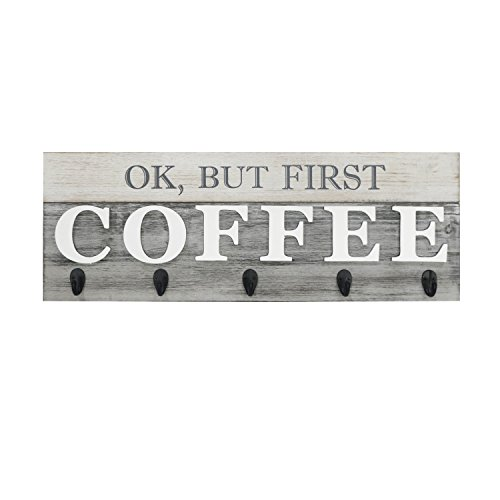 "Barnyard Designs 'Ok But First Coffee' Hanging Mug Holder Wall Mounted Coffee Cup Organizer Rack Rustic Farmhouse Wood Wall Decor Sign for Kitchen Coffee Bar or Cafe Gray and White 24"" x 85"""