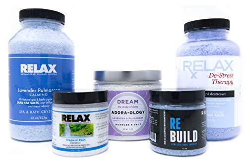Natural Epsom Salt (Sleep Therapy Bundle Pack) Premium Bath Salts Pack of 5 - Lavender Bubble Bath and Sleep Aid - Exfoliating Body Scrub