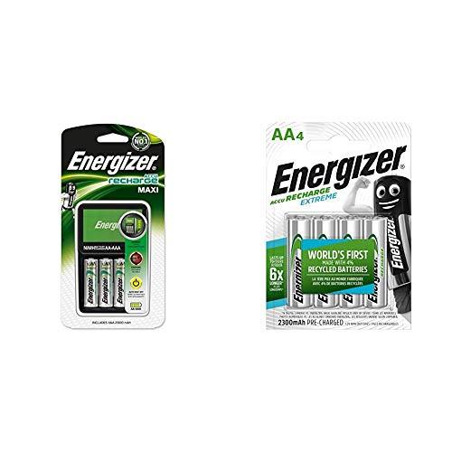 Energizer E300321200 - Cargador de Pilas Maxi Compatible AA y AAA, Incluye 4 Pilas Recargables AA 2000 mAh + AA-HR6, Batería Recargable, Plateado, Pack de 4