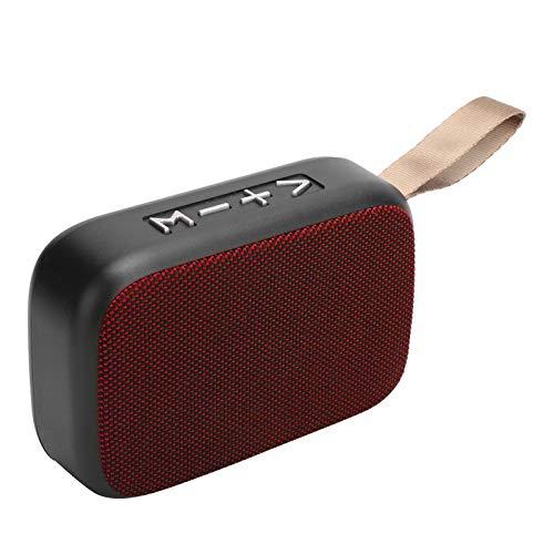 Altavoz Bluetooth inalámbrico, Subwoofer estéreo portátil, Mini Altavoz Inteligente de Sonido USB con Radio FM, Calidad de Sonido HiFi, Compatible con Llamadas Manos Libres HD(Rojo)