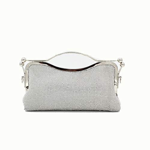 Yi-xir Bolso favorito para mujer con capacidad de diamante y hombros cruzados, para cena, mochila diagonal (color: plata, tamaño: 28.5 x 5 x 18.5)