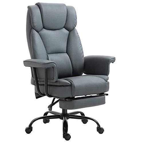 Vinsetto Bürostuhl Chefsessel Computerstuhl höhenverstellbar mit Fußstütze 360° PU 68 x 80 x 120–126 cm